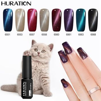 Huration Nails Art Lucky Cat Eyes Nail Gel Polish Led UV Gel Polish Soak Off Nail Polish Use Magnet Stick Gel Varnish