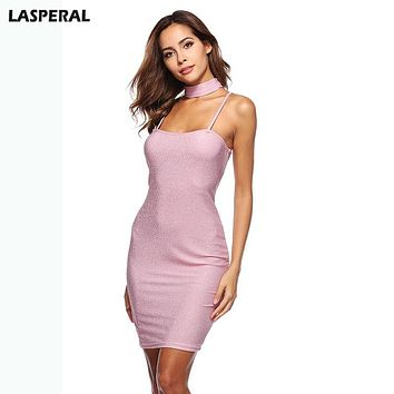 LASPERAL Women Summer Dress Sexy Choker Bodycon Dress Fashion Mini Vestidos Sexy Slim Party Dress Glitter Party Dress Sundress