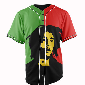 Bob Marley Red & Green Button Up Baseball Jersey