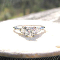 1930's Art Deco Diamond Engagement Ring, Old European Cut Diamonds in Platinum, Classic and Elegant, Hand Engraved 1934