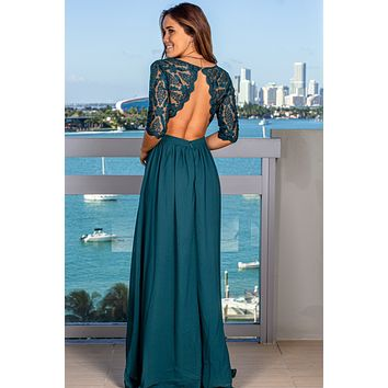 Emerald Embroidered Top Maxi Dress with 3/4 Sleeves