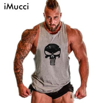 iMucci Golds Stringer Tank Top Men Bodybuilding Clothing Fitness Mens Sleeveless Shirt Vests Cotton Singlets Muscle Tops Skull