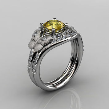 14KT White Gold Diamond Leaf and Vine Yellow Sapphire Wedding Ring,Engagement Ring NN117SS-14KWGDBS Nature Inspired Jewelry