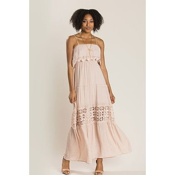Angelina Blush Crochet Maxi Dress
