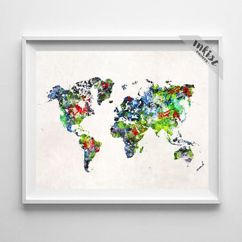 World Map Poster, World Map, Art Print, Watercolor Painting, Wall Art, Watercolor Art, Wall Art Decor, Travel Poster, Type 2, Dorm Art