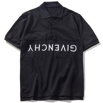 Givenchy 2019 men's inverted embroidery letter polo shirt round neck T-shirt