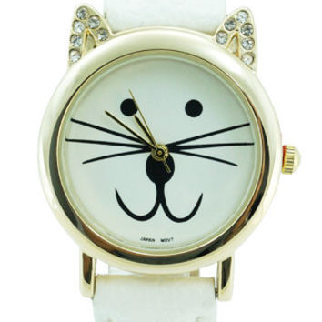 Geneva Mini CZ Cat Leather Watch 28mm - White