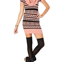 Mixed Geo Cowl Neck Mini Sweater Dress