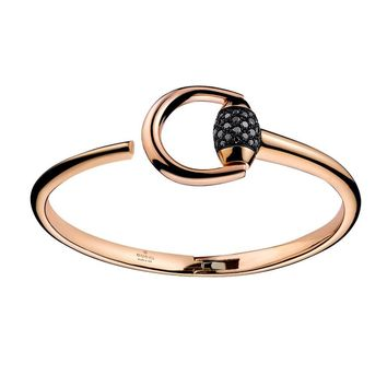 Gucci Horsebit Black Diamond Bangle Bracelet in 18k Rose Gold
