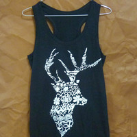 Flower deer tshirt sleeveless shirt aztec animal tee /workout tank top/ singlet/ flower prints/ summer tops/ women shirts size S M L XL