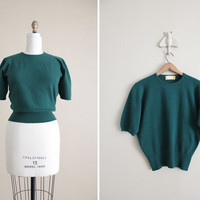 1950s vintage pine green cashmere sweater