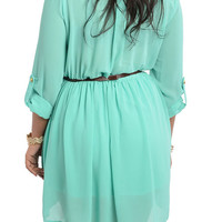 Mint Plus Size Chic Chiffon Office Dress With Belt