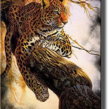 Leopard on a Tree, Wildlife By Al Agnew Picture on Stretched Canvas, Wall Art Decor Ready to Hang!.