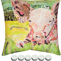"Manual Woodworkers SLFPIG Farm Art Pig Indoor Outdoor Pillow 18""x18"" with 6-Pack of Tea Candles"