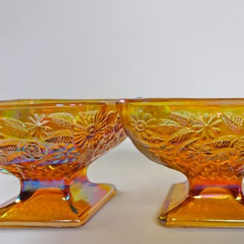 Two Vintage Indiana Carnival Glass Diamond Shaped Candy Dishes from 1960s with Raised Floral and Geometric Diamond Pattern