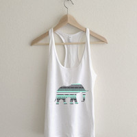 Mermaid Mint Aztec Elephant Print  Athletic Racerback Tank Top