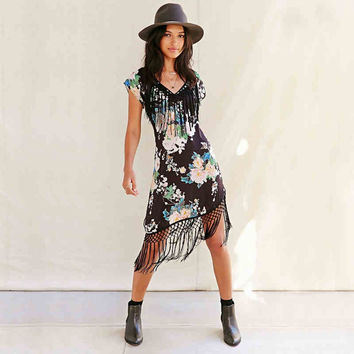 Black Floral Print Asymmetrical Fringed Dress
