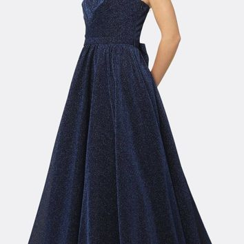 Long One Shoulder Sleeveless Glitter Prom Gown Navy Blue Removable Bow
