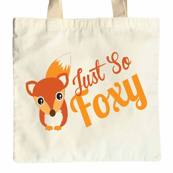 Just so Foxy cotton tote shopper bag great for hen bachelorette party fun gift bag