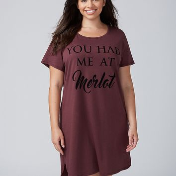 You Had Me At Merlot Graphic Sleepshirt | Lane Bryant
