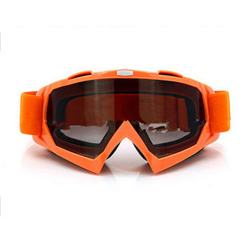 Adult Colourful double Lens Snow Ski Snowboard Goggles Motocross Anti-Fog Fashion Eye Protection Orange Tea