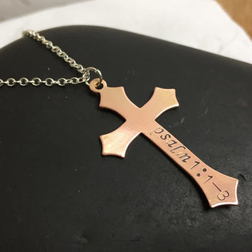 Bible verse necklace,Bible verse jewelry, Personalized jewelry for her, Mother's day gift, Bridesmaid Gift, Statement Pendant Cross Necklace