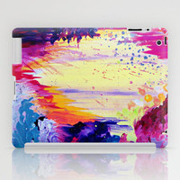 IN TIMES OF CHAOS - Intense Nature Abstract Acrylic Painting Wild Rainbow Volcano Waves Fine Art  iPad Case by EbiEmporium