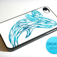 Blue Glitter Tribal Whale iPhone 4 / 4S Case