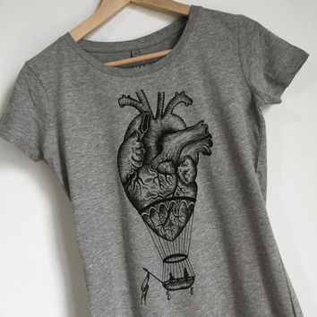 WOMANS t shirt , Anatomical heart / hot air balloon. vintage tattoo style drawing Screenprinting, handmade design.printed tee ,girt for her