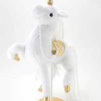Unicorn Carousel Horse Plush, Stuffed Animal, Soft Sculpture, Art Doll