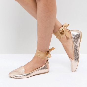 RAID Rose Gold Ankle Tie Flat Shoes at asos.com