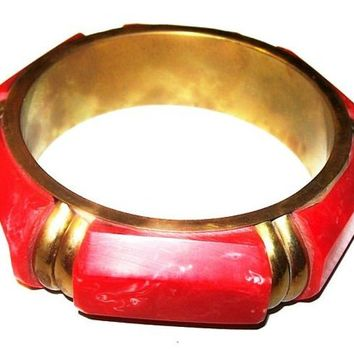 "Red Bangle Bracelet Thermoset Panels Gold Metal Bars Big Chunky 1"" Vintage"