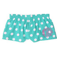 Monogrammed Ladies Boxer Shorts - Teal and White Polka Dots
