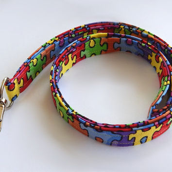 Puzzle Lanyard / Colorful Lanyard / Keychain / Puzzle Pieces / Puzzles / Key Lanyard / ID Badge Holder / Teacher Lanyard / Autism Awareness