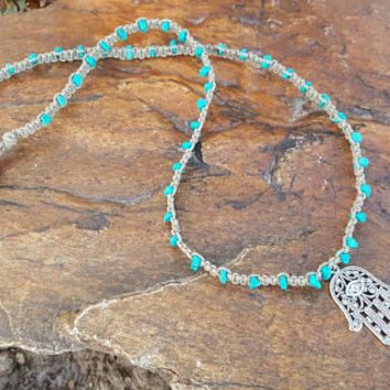 Long Necklace, Hamsa Hand, Long Hemp Necklace, Turquoise Howlite, Long Necklace, Gift, Handmade, Hemp Necklace, Gift for Her, Long Necklace