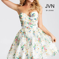 Jovani JVN55240 Multicolored Floral Dress with Sweetheart neckline and Full Skirt