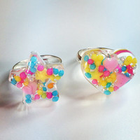 Colorful, ring, kawaii, resin, sugar, rabbit, flower, star, heart, sweet, pop kei,