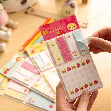 1X Cute Rilakkuma Paper Memo Pad Sticky Notes Stickers Notepads Stationery Planner Student School Office Supply