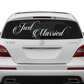 Just married vinyl car decal design wedding cling banner decoration quote sticker decals back