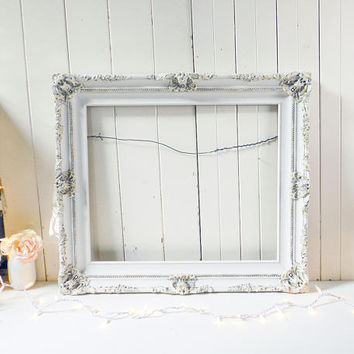 Rustic Ornate Frame, Shabby Chic Off White Picture Frame,  20 x 24 Cream Picture Frame, Wedding Frame, White Nursery Frame, Farmhouse Frame