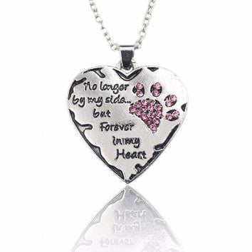 """""""No longer be my side but forever in my heart"""" Paw Print & Heart Necklace"""