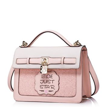 Women's Padlock Charm Paillette Convertible Pink Leather Tote Handbag Small Messenger Cross Body Bag
