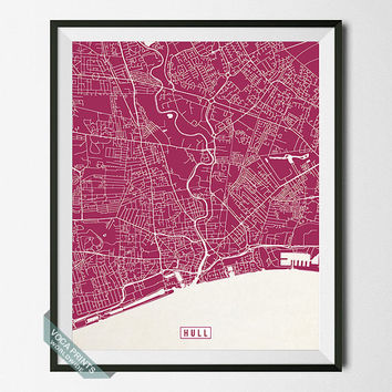 Hull Print, England Poster, Hull Poster, Hull Map, England Print, England Map, Kingston upon Hull, Street Map, Wall Art