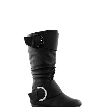 2Buckle Accent Mid-Calf Boot