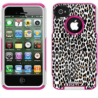 """""""Leopard White"""" Animal Prints design on OtterBox® Commuter Series® Case for iPhone 4 / 4S in Pink"""