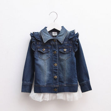 Spring/Autumn Fashion Solid Denim Jeans Jacket for Girls Kids Clothes Children Outerwear Baby 2016 T1/1052DAE