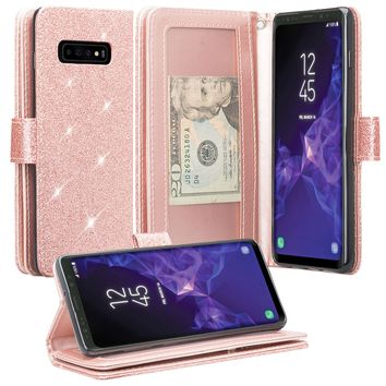 Samsung Galaxy S10 5G Case,SMG977U Case, Glitter Faux Leather Flip Credit Card Holder Wrist Strap Shockproof Protective Wallet Case Clutch for Samsung Galaxy S10 5G - Rose Gold