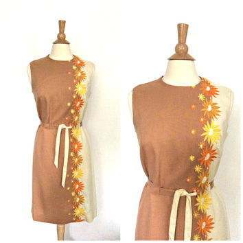 1960s Shift Dress - 60s dress - sheath - Toni Todd - linen dress - sundress - Medium