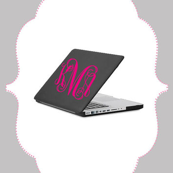 Large Monogram Laptop Decal- 8 inch Vinyl Decal