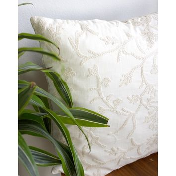 20x20 Square - Crewel Embroidered Pillow Cover - Rose Gold Zipper
